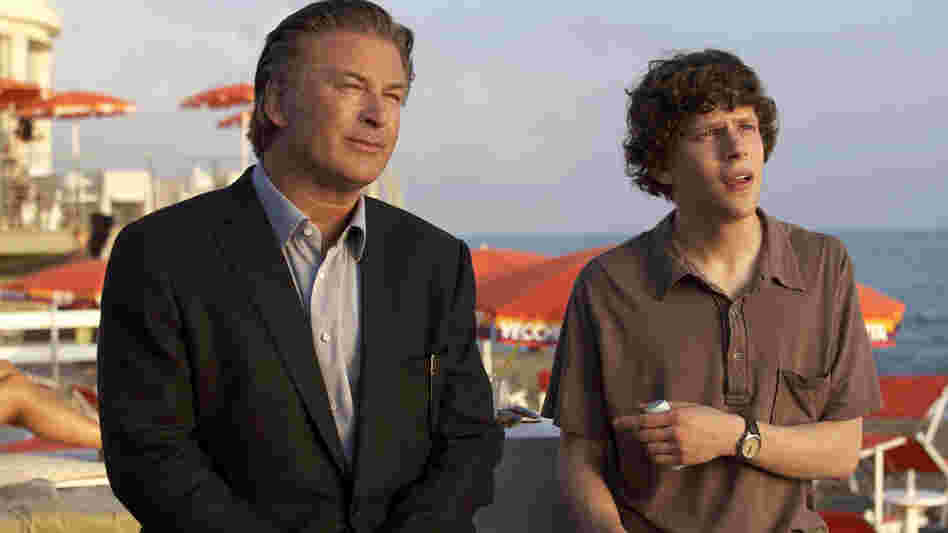 In Woody Allen's latest, John (Alec Baldwin, left) begins to live vicariously through complications in Jack's (Jesse Eisenberg) love life.