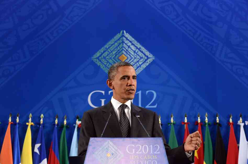 President Barack Obama speaks during a press conference at the end of the G20 Summit of Heads of State and Government in Los Cabos, Mexico on Tuesday.