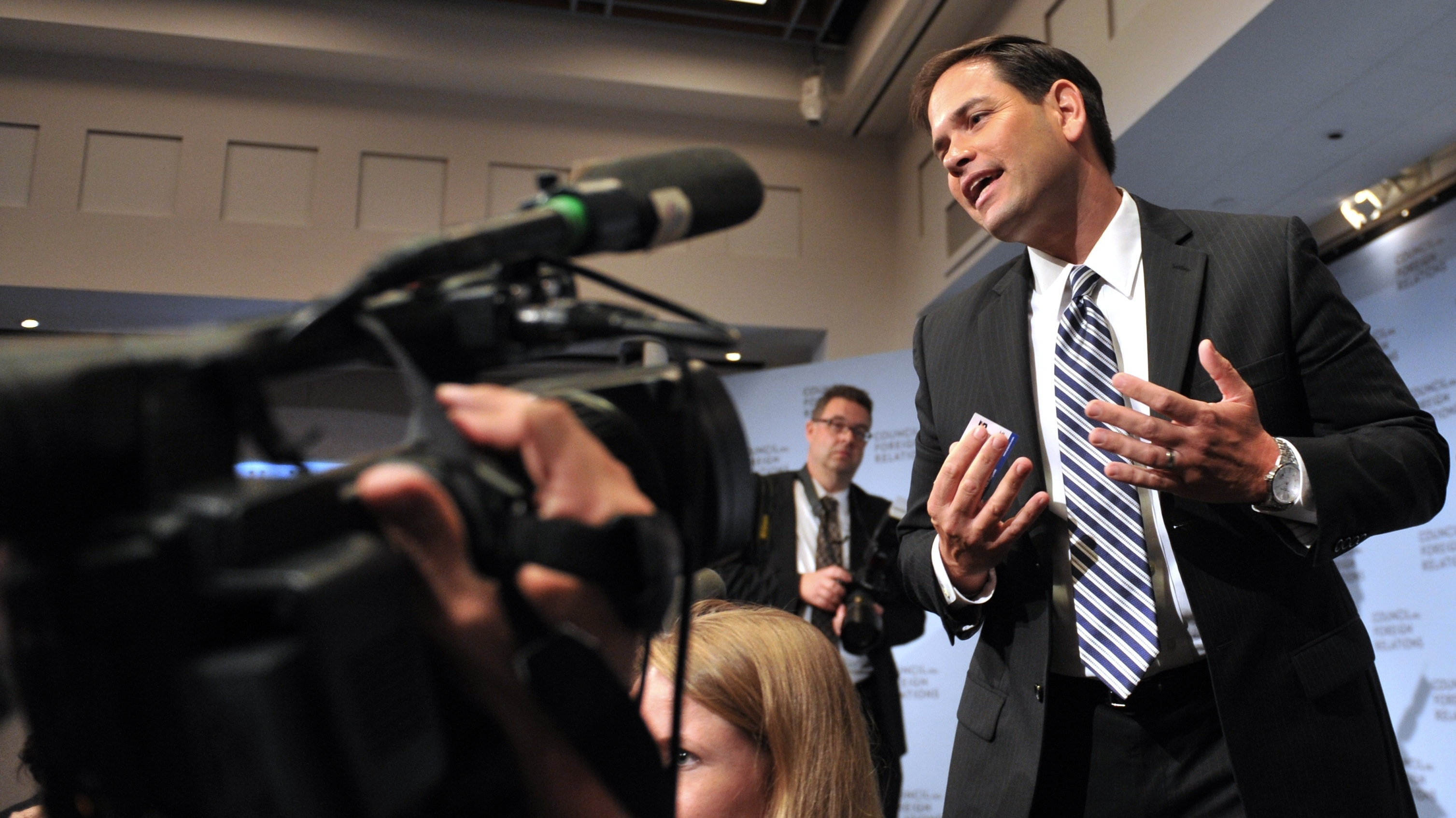 Sen. Marco Rubio, R-Fla., leaves the stage after speaking at the Council on Foreign Relations on May 31 in New York.