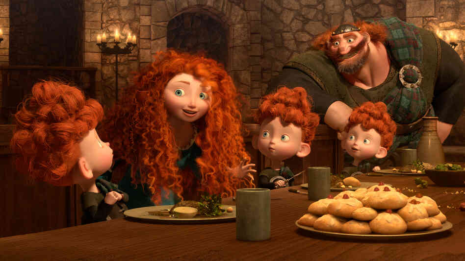 "Merida, the heroine in Pixar's Brave, causes much family drama by refusing to get married — and acting more like her father, King Fergus, than a ""proper princess."""