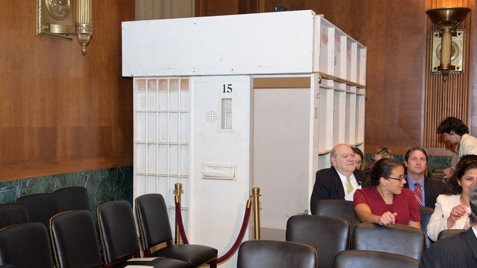 To illustrate living conditions under solitary confinement, a Senate Judiciary subcommittee erected a cell replica inside a Capitol Hill hearing room on Tuesday. (U.S. Senate)