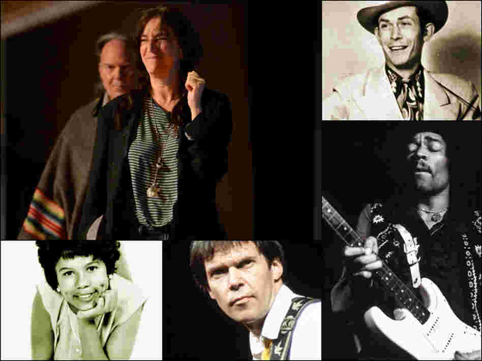 Clockwise from upper left: Neil Young with Patti Smith, Hank Williams, Jimi Hendrix, Neil Young, Maureen Gray.