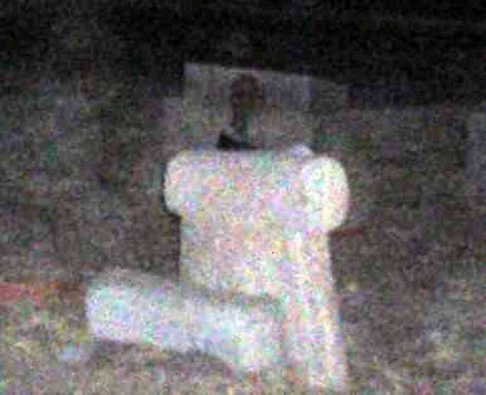 A photo provided by Henry Flores shows a headstone with what some believe is a ghost in the frame, perched behind the tomb.