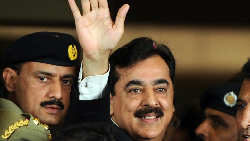 Pakistan's Prime Minister Yousuf Reza Gilani as he arrived at court on April 26 in Islamabad. (AFP/Getty Images)