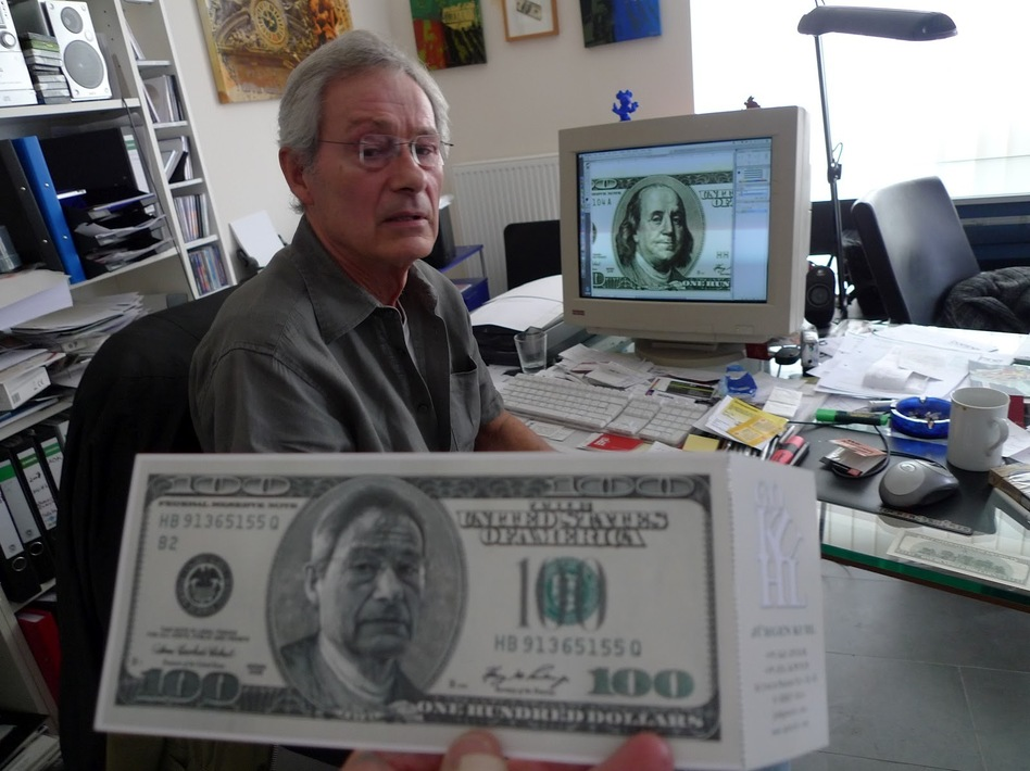 Hans-Jurgen Kuhl featured his face on bills as an announcement for an art show.