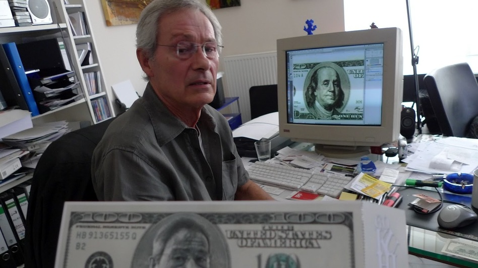 Hans-Jurgen Kuhl featured his face on bills as an announcement for an art show. ( )