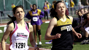 Olympic hopeful Shannon Leinert (left) battles Mizzou freshman Liz Reida in the 1,500 meters at the 2012 Missouri Relays. Leinhert will compete to earn a spot on the Olympic team in Eugene, Ore., on Thursday.
