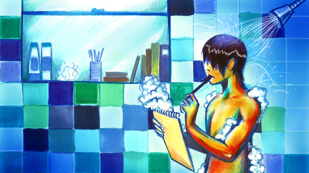 Taking a shower may help inspire big ideas. Working in a blue room may help, too. (NPR)