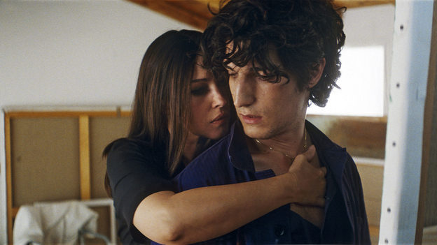 in Philippe Garrel's A Burning Hot Summer, Angele (Monica Bellucci) and Frederic (Louis Garrel) make up the more tempestuous of two couples living together in Rome. (IFC Films)