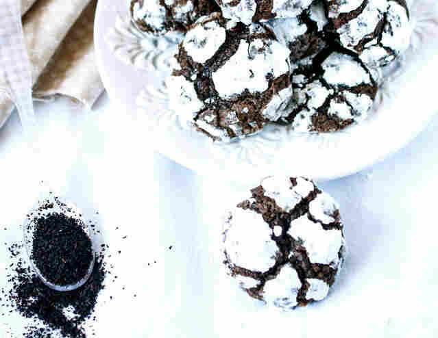 Chocolate-Mint Tea Crinkle Cookies