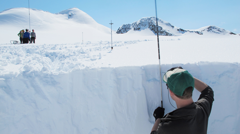 Researchers measure the Eklutna glacier in Alaska to see how long the water it provides will last. The glacier supplies Anchorage with both drinking water and hydro power. (Annie Feidt for NPR)