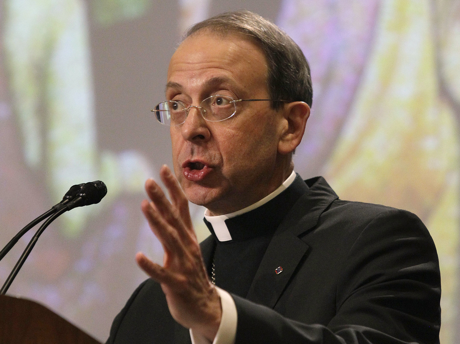 Archbishop William Lori, pictured speaking on religious freedom at the U.S. Conference of Catholic Bishops' annual fall assembly, says Catholics are behind the Fortnight for Freedom campaign. He dismissed a poll that found 57 percent of Catholics are not worried about their religious liberties. (AP)