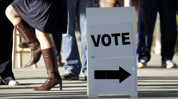 Voter walk outside of a polling place at the First Baptist Church of Windermere, in Orlando, Fla., during the state's primary on Jan. 31. (AP)