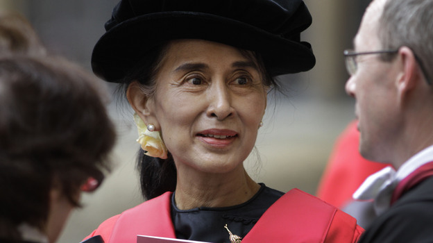 Aung San Suu Kyi finally received her honorary degree from Oxford University after it was initially awarded in 1993. In her speech, Suu Kyi praised Oxford for helping her see humankind at its best during her long years under house arrest in Myanmar. (AP)