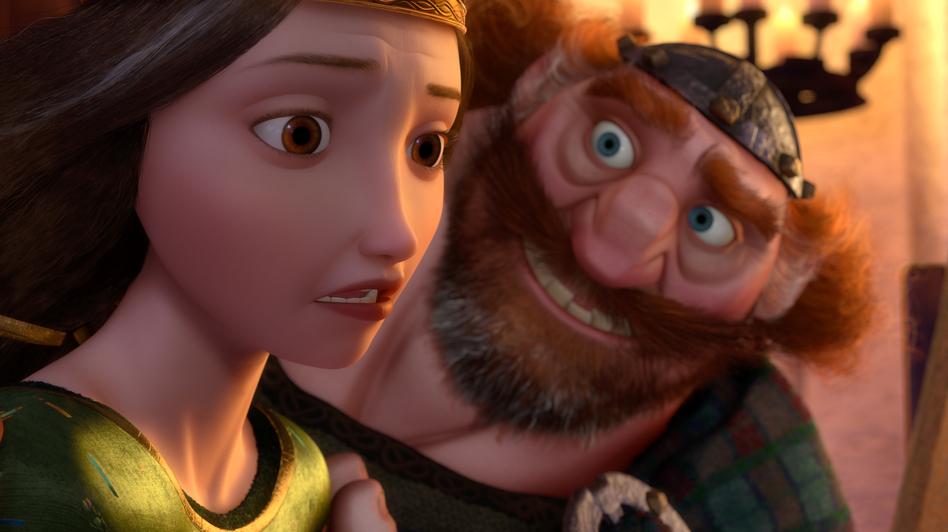 Merida's parents, Queen Elinor and King Fergus, try their best to control Merida's wild behavior, with little success. (Disney/Pixar)