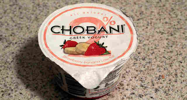 A cup of Chobani Greek yogurt.