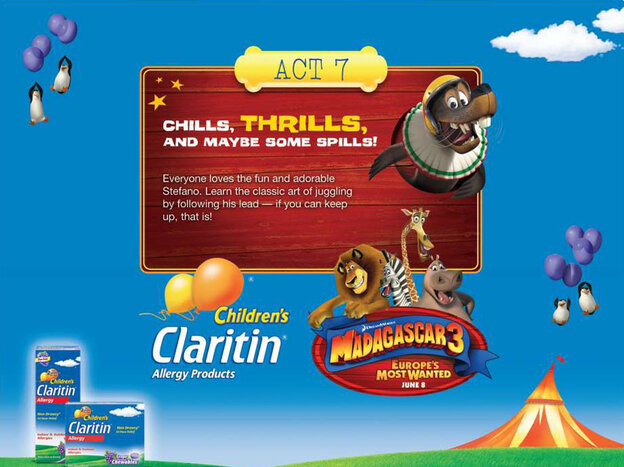 One of the Madagascar 3-themed activities for kids touted on Merck's Claritin Facebook page.