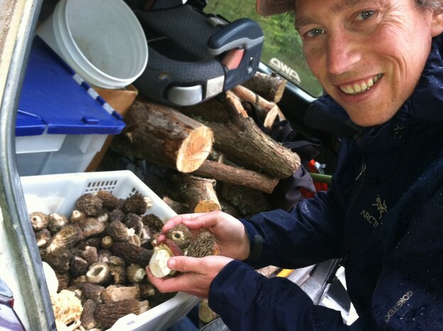 Langdon Cook shows off the morel and porcini mushrooms he's foraged and store