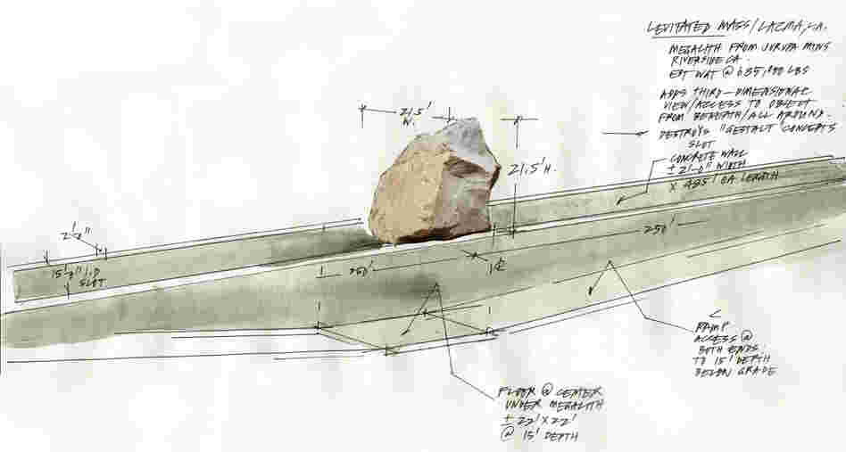 A 2011 sketch by artist Michael Heizer shows the walkway visitors will use to pass under the granite boulder at the center of the Los Angeles County Museum of Art's installation. (Click here to enlarge.)