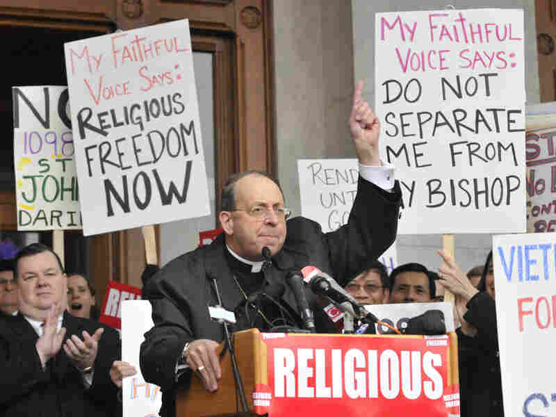 Archbishop William Lori of Baltimore, shown speaking at the state Capitol in Hartford, Conn., in 2009, is the head of the U.S. bishops' Fortnight for Freedom campaign.