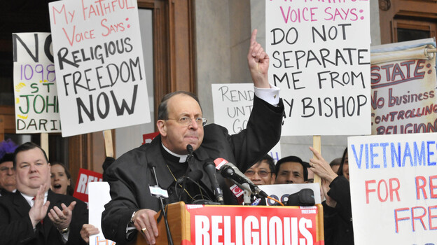Archbishop William Lori of Baltimore, shown speaking at the state Capitol in Hartford, Conn., in 2009, is the head of the U.S. bishops' Fortnight for Freedom campaign. (AP)