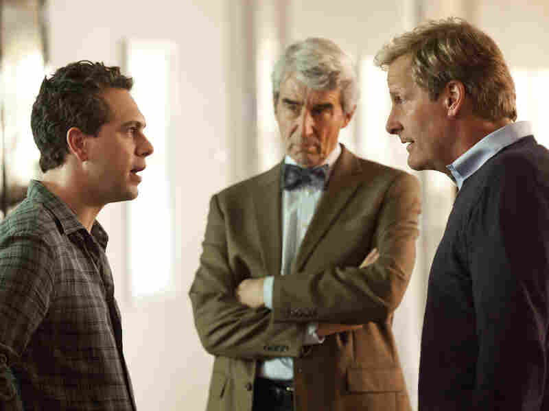 In addition to Daniels, the ensemble cast of The Newsroom includes Thomas Sadoski (left) and Sam Waterston.