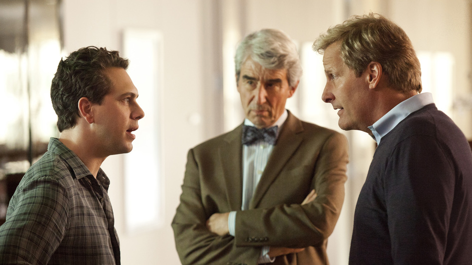 In addition to Daniels, the ensemble cast of The Newsroom includes Thomas Sadoski (left) and Sam Waterston. (HBO)
