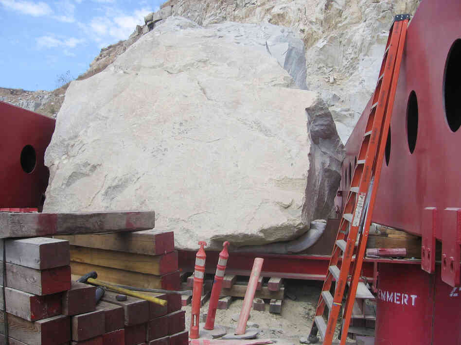 Artist Michael Heizer's handpicked boulder, and its custom-made transporter, sat at the Stone Valley Quarry for months while the moving team acquired permits to haul it through four counties and 22 cities en route to L.A.