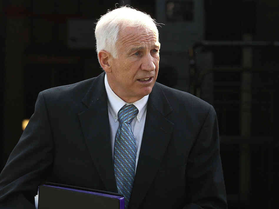 Former Penn State assistant football coach Jerry Sandusky as he left the Centre County Courthouse in Bellefonte, Pa., on Tues