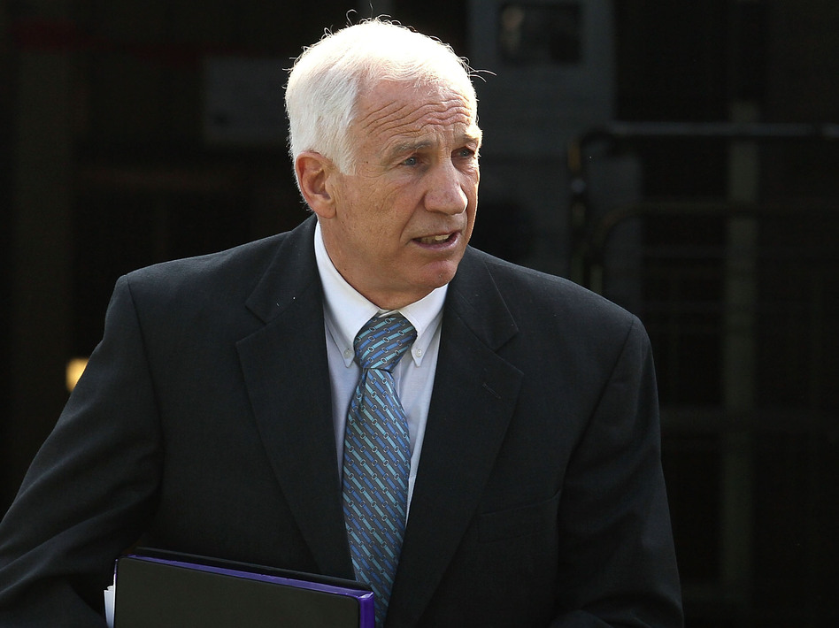 Former Penn State assistant football coach Jerry Sandusky as he left the Centre County Courthouse in Bellefonte, Pa., on Tuesday.