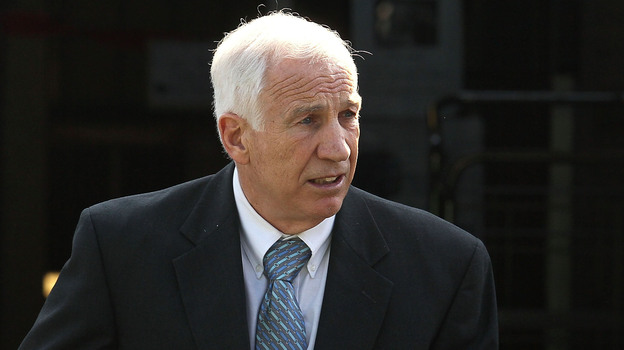 Former Penn State assistant football coach Jerry Sandusky as he left the Centre County Courthouse in Bellefonte, Pa., on Tuesday. (Getty Images)