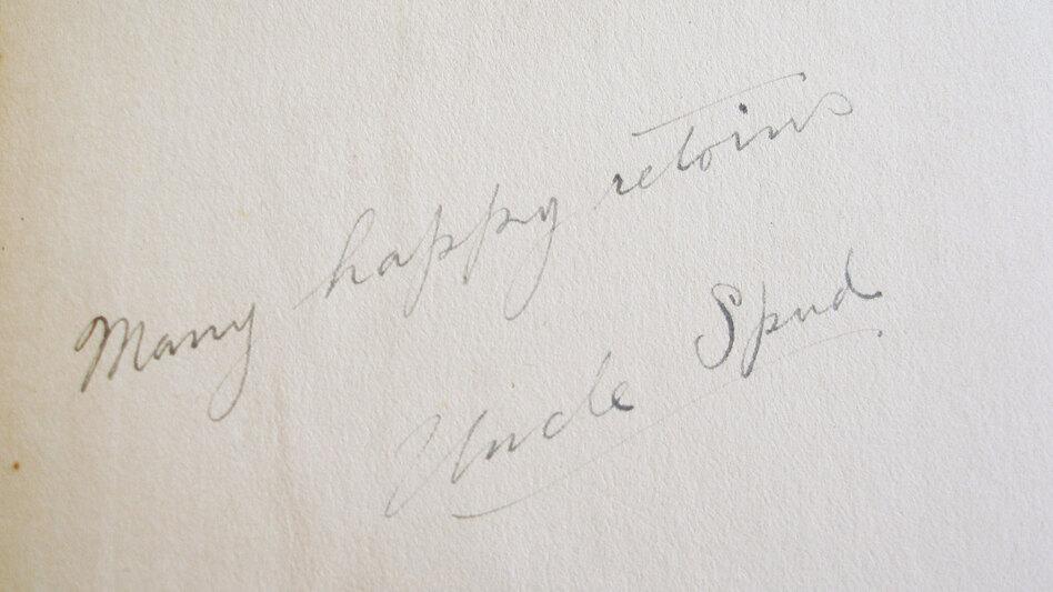 "Uncle Spud's inscription: ""Many happy retoins."" (Amanda Katz)"
