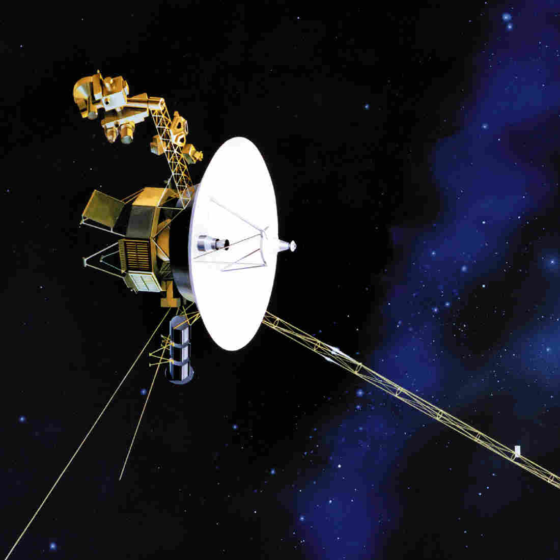 An artist's rendering shows one of NASA's twin Voyager spacecrafts, which launched in 1977.