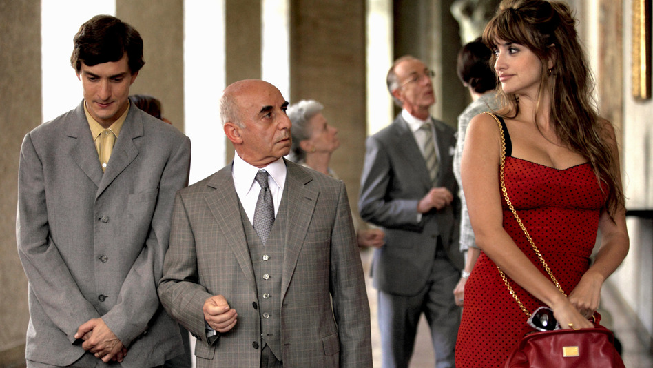 Antonio the newlywed (Alessandro Tiberi, left), Uncle Paolo (Roberto Della Casa) and Anna the prostitute (Penelope Cruz) in one of <em>To Rome With Love</em>'s four independent stories. This one features Anna attempting to teach Antonio something about love.