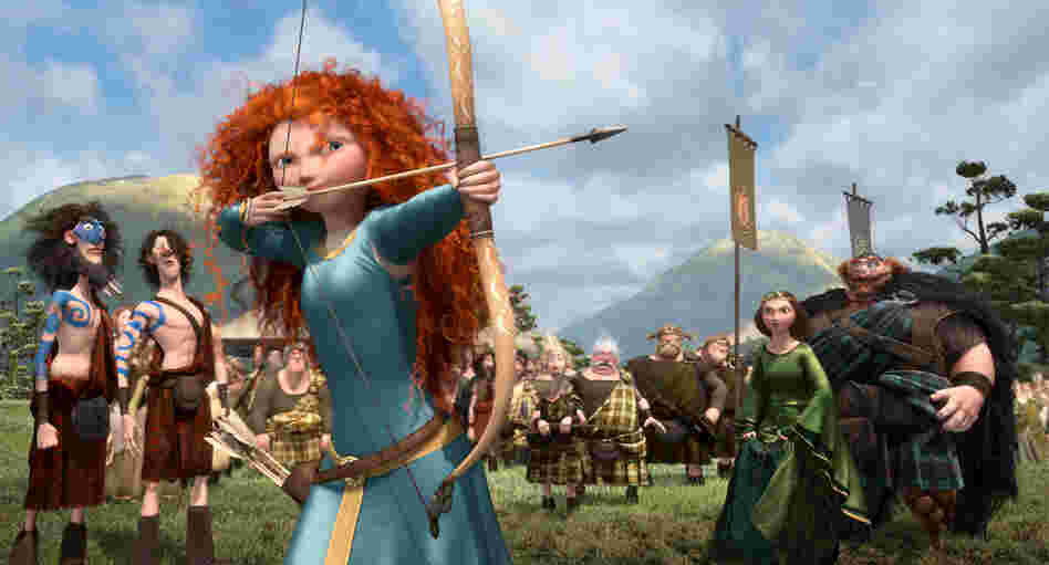 In Brave, the character of Merida is a skilled archer and sword fighter who rebels against what is expected of her as a princess.