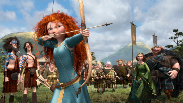 In Brave, the character of Merida is a skilled archer and sword fighter who rebels against what is expected of her as a princess. (Disney/Pixar)