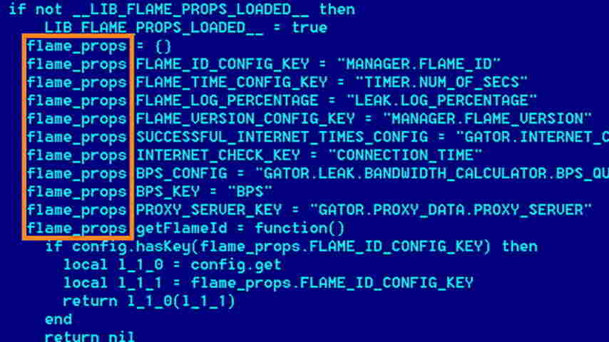 An undated screen grab, released by the Kaspersky Lab, showing some of the programming behind Flame.