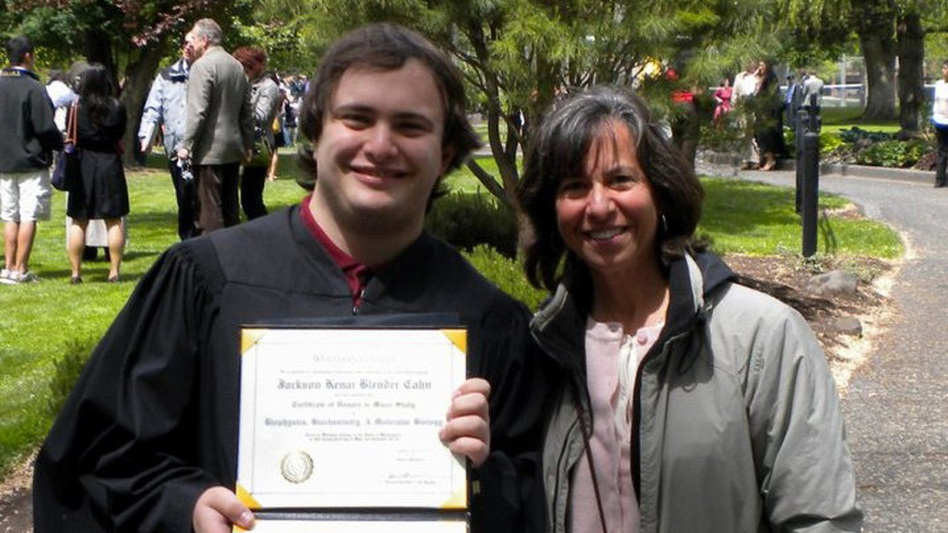 Jackson Cahn, who graduated from Whitman College in Walla Walla, Wash., is one of the 3 million young adults the Obama administration says would have risked going without insurance if the health care law hadn't allowed them to stay on their parents' policies. Because of the law, his mother, June Blender, was able to add him to her insurance. (Courtesy of June Blender)