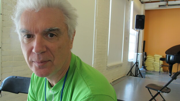 Musician David Byrne at his rehearsal space at MASS MoCA in North Adams, Mass. Byrne's first musical, Here Lies Love, chronicles the rise and fall of Imelda Marcos. (NPR)