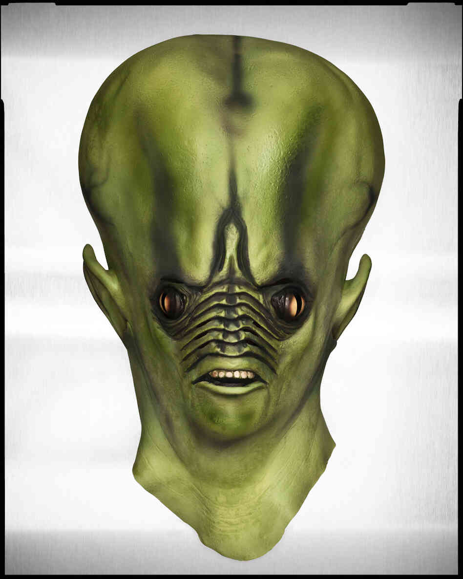 For an article in which the writer recollects his childhood relationship with B movies, Winters and his crew found and tweaked this super-scary alien mask.
