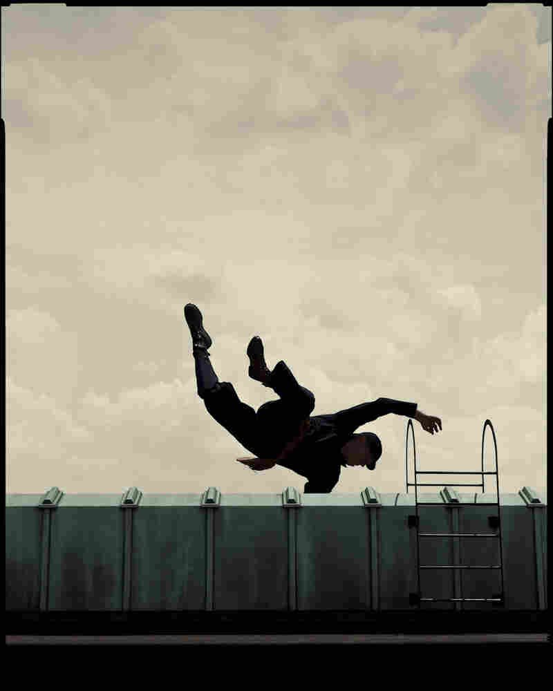 """For a short story """"about a businessman's relationships,"""" the abstract reads, Winters and his crew built a set and hired a former Olympian turned stuntman to do the jump."""