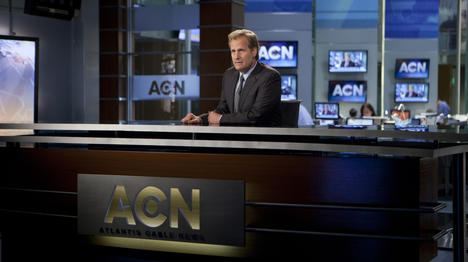 After a public meltdown and a wholesale staff defection, Will McAvoy (Jeff Daniels) decides to take a different approach with his nightly news show. (HBO)
