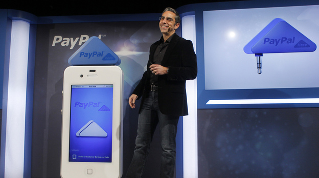 David Marcus, president of PayPal, unveils PayPal Here in San Francisco in March. The service allows customers to use their smartphones to pay for purchases at retail stores. (AP)