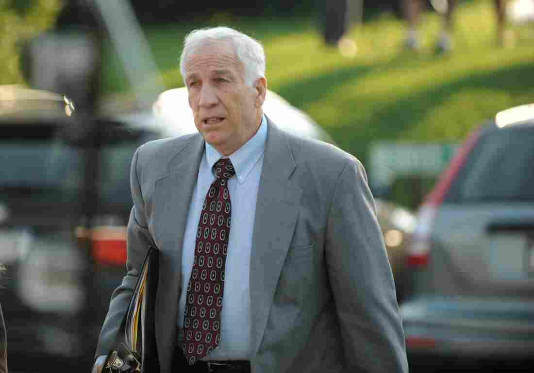 Jerry Sandusky arrives at the courthouse on Thursday for closing arguments of his sexual abuse trial, at the Centre County Courthouse, in Bellefonte, Pa.