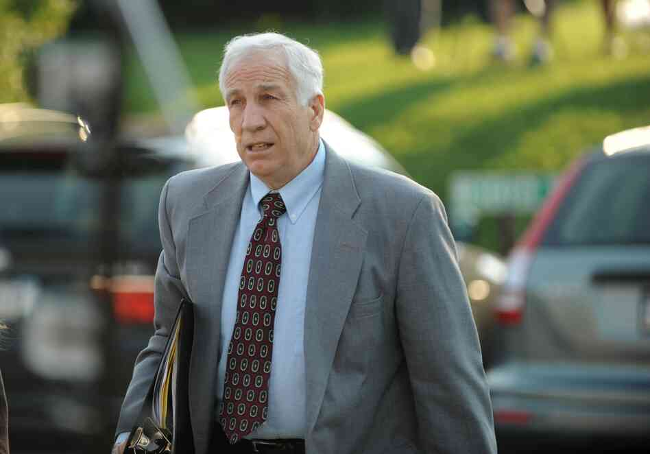 Jerry Sandusky arrives at the courthouse on Thursday for closing arguments of his sexual abuse trial, at the Centre