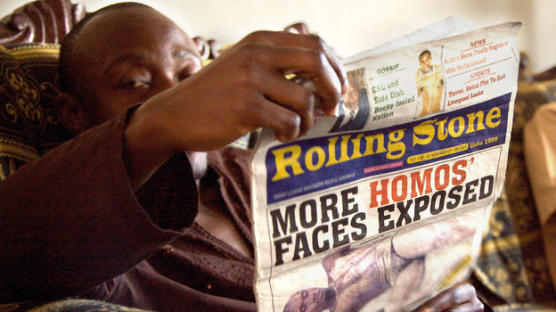 One of the front page stories published by Ugandan newspaper The Rolling Stone, which terrorized the LGBT community. (Courtesy of 'Call Me Kuchu')