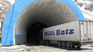A truck carrying food for NATO troops drives into the northern entrance of the Salang Tunnel. This truck waited several days to be able to enter the tunnel.
