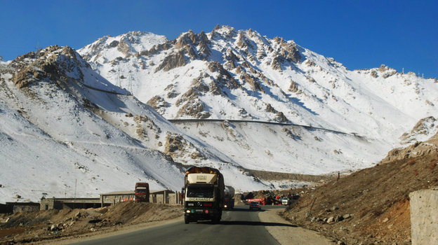 A truck drives down a highway on Salang Pass in Afghanistan's Parwan province in December. The Salang Tunnel, which crosses under the pass, provides a vital link between Central Asia and northern Afghanistan to Kabul. (AFP/Getty Images)