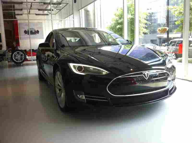 The Model S electric sedan sits in a Tesla showroom in Washington, D.C.