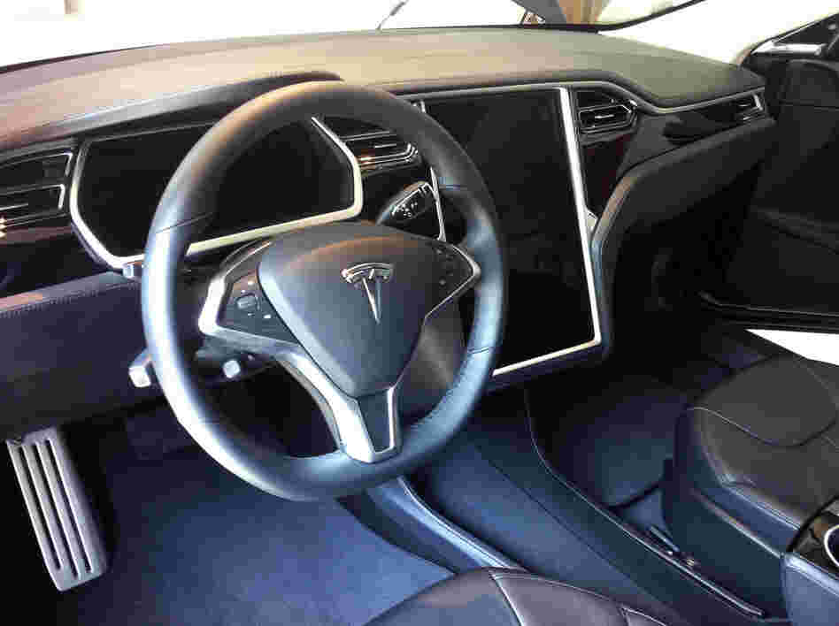 The sedan's cabin includes a 17-inch touch screen, which provides real-time data about the car's range and power consumption. It can also display maps and music options.